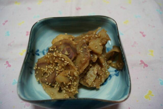 レンコンと紫芋のきんぴら
