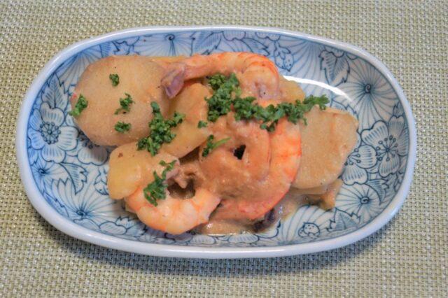 エビと里芋のソテー 豆乳味噌ソース