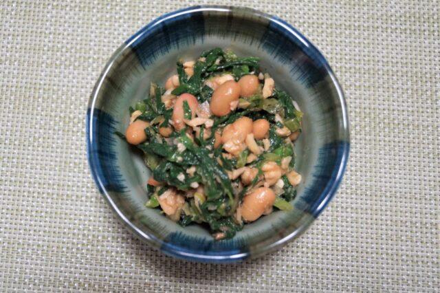 納豆とほうれん草のクルミ味噌和え