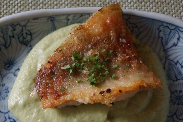白身魚のソテー枝豆のソース
