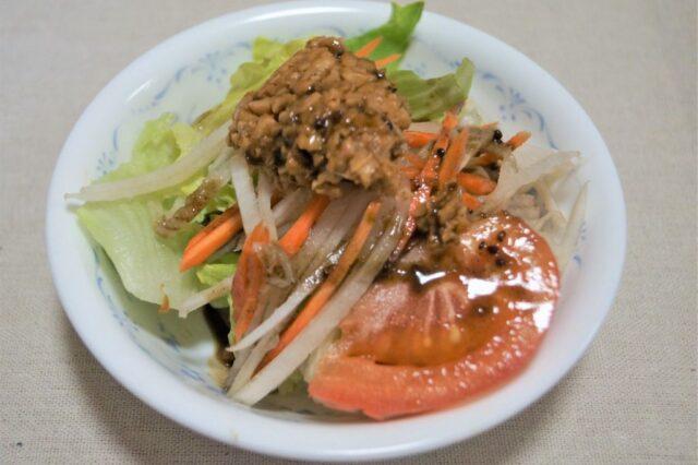 野菜サラダ納豆ドレッシング