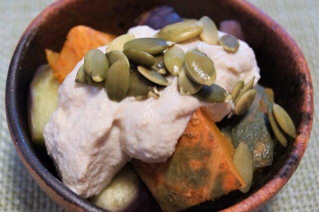 カボチャとナスの豆腐マヨソースがけ