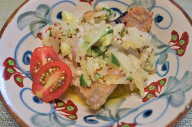 白身魚のソテー夏野菜ソース