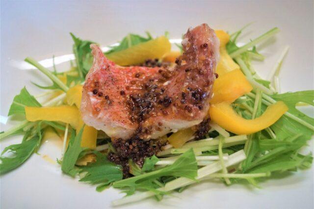 水菜と魚のマスタードサラダ