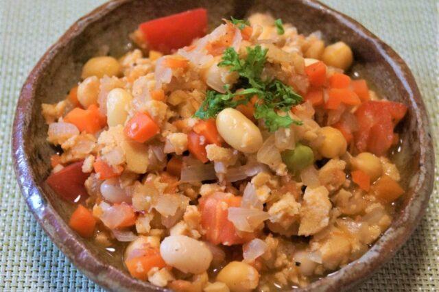 高野豆腐と豆のチリコンカン