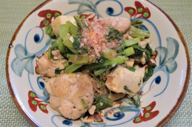 鶏とからし菜の炒め物