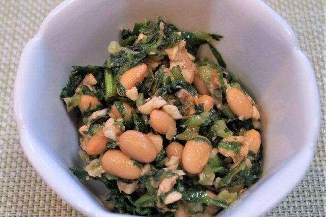 納豆とエンサイのクルミ味噌和え