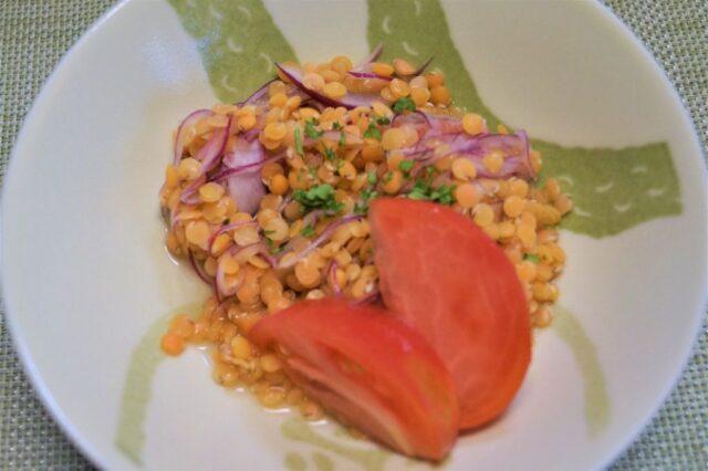 白身魚とレンズ豆のマリネ