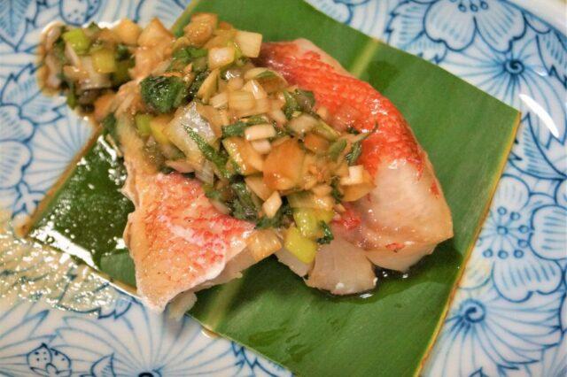 蒸し魚の中華風甘酢ダレ