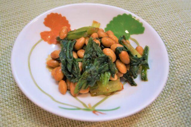 納豆と小松菜の和え物