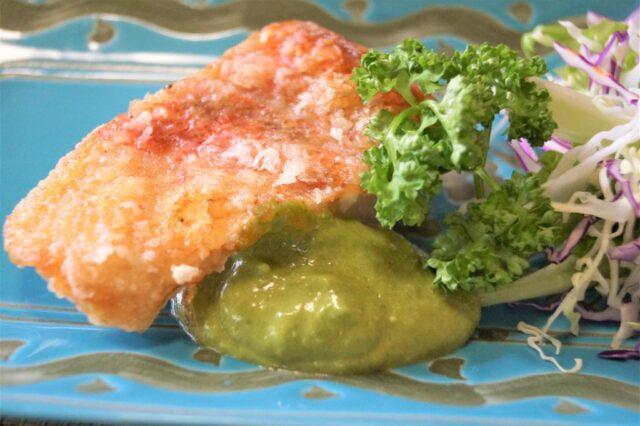 白身魚のバジルソース