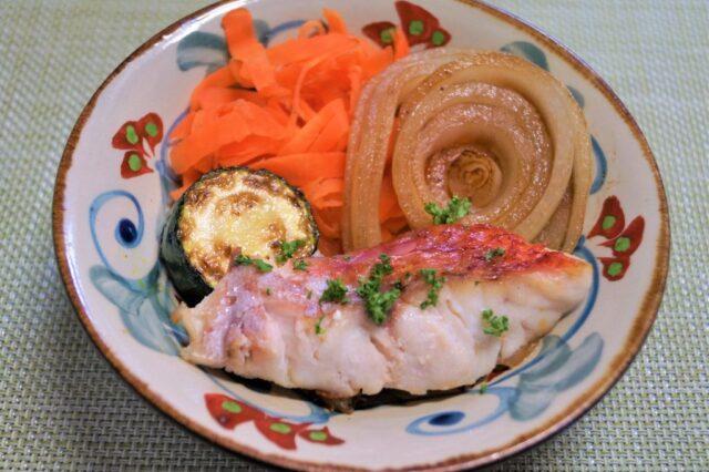 焼き魚のガーリック焼き