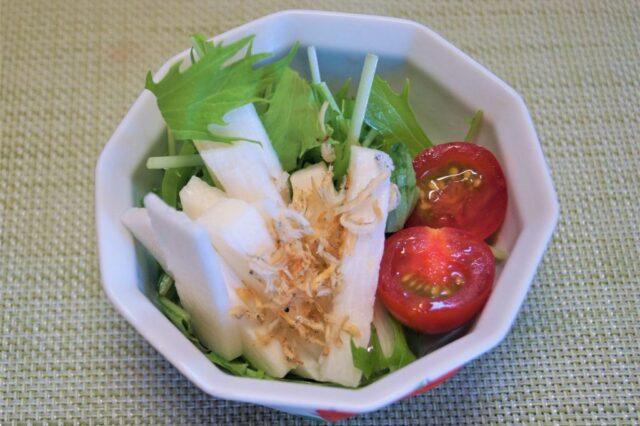 長芋と水菜のじゃこサラダ