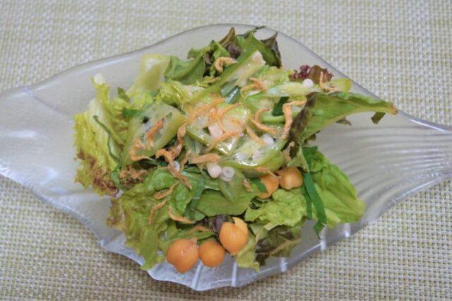 大葉とオクラとひよこ豆のサラダ