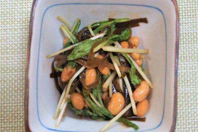 水菜と昆布の納豆和え