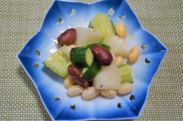 胡瓜と豆のマスタードサラダ