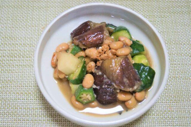 茄子とオクラの納豆味噌